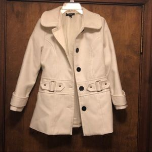 Girl's Lovely White Coat with black buttons size M